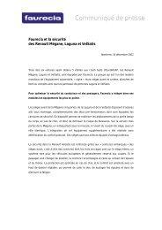 Faurecia et la sécurité des Renault Mégane, Laguna et VelSatis