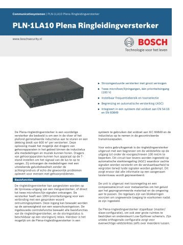 PLN-1LA10 Plena Ringleidingversterker - Bosch Security Systems