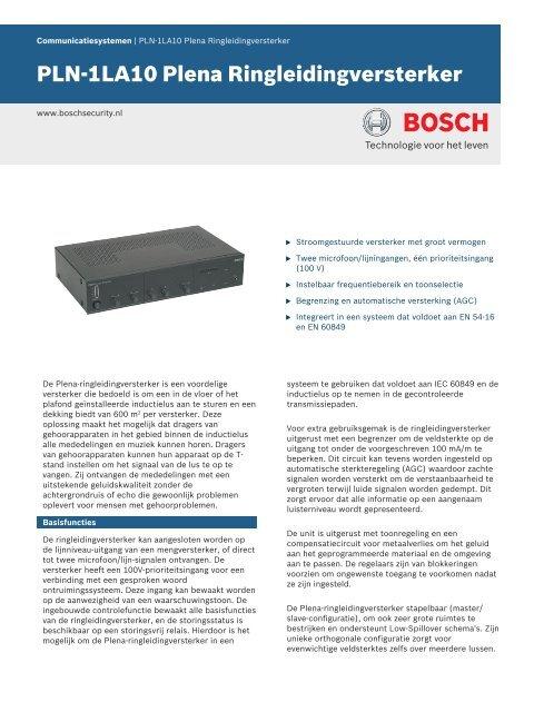 PLN-1LA10 Plena Ringleidingversterker - Bosch Security Systems