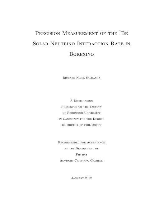 Precision Measurement of the Be Solar Neutrino ... - Borexino