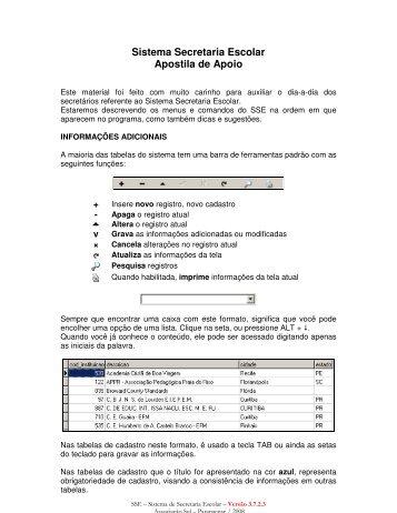 Sistema Secretaria Escolar Apostila de Apoio - União Sul-Brasileira