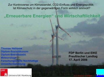 ?Erneuerbare Energien? und Wirtschaftlichkeit