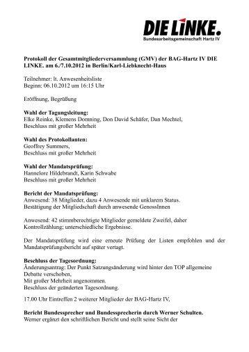 Protokoll der Gesamtmitgliederversammlung (GMV) der ... - Die Linke
