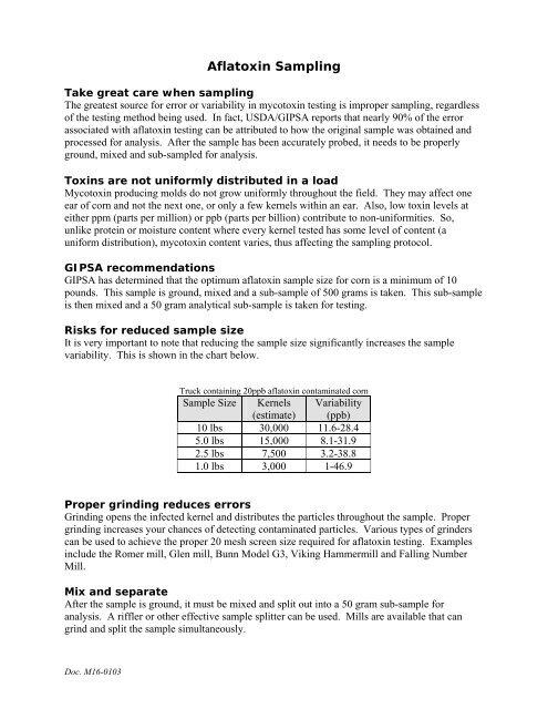 Aflatoxin Sampling - EnviroLogix