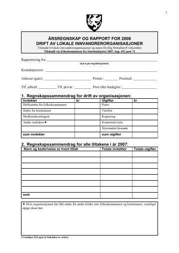 Rapportskjema for driftsmidler 2008. - Ansatte - Troms fylkeskommune