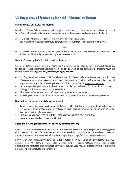 04eb74c6 Vedlegg krav til faktura og eFaktura - Ansatte - Troms fylkeskommune