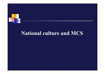 National culture and MCS - MBA7