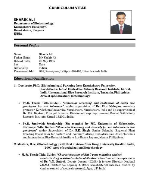 Curriculum Vitae Personal Profile Educational Qualification