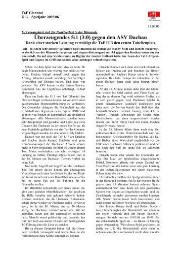 Spielbericht TaF Glonntal U13 - ASV Dachau 5:1 (3:0) - Archivseiten ...