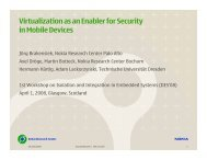 Virtualization as an Enabler for Security in Mobile Devices