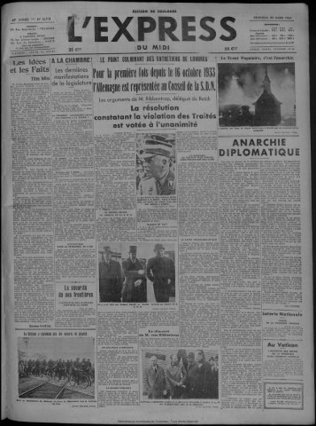 20 MARS 1936 - Bibliothèque de Toulouse