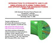 introduction to gyrokinetic and fluid simulations of ... - Our Home Page