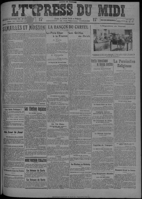 22 OCTOBRE 1924 - Bibliothèque de Toulouse