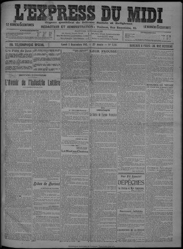 Lundi 2 Septembre 1912. - Bibliothèque de Toulouse