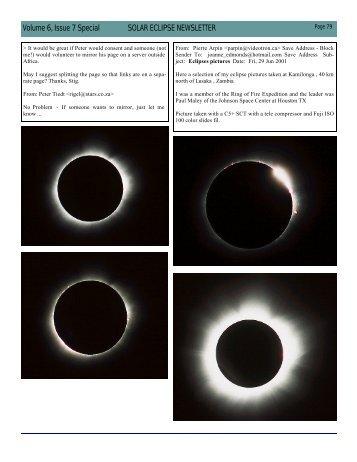 Volume 6, Issue 7 Special SOLAR ECLIPSE NEWSLETTER