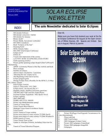 SOLAR ECLIPSE NEWSLETTER - NASA Eclipse Web Site