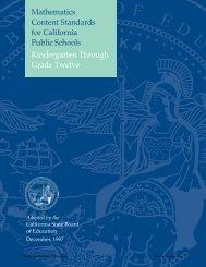 Mathematics Content Standards - Curriculum Frameworks (CA Dept ...