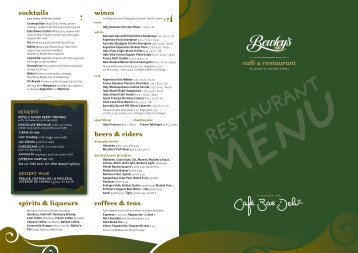 café & restaurant cocktails coffees & teas spirits ... - Bewley's