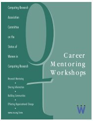 Building a Research Career - CRA Committee on the Status of Women