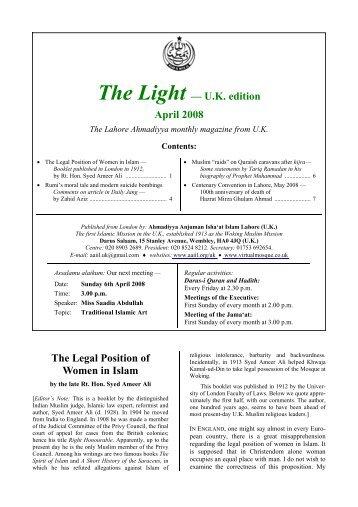 The Light, U.K. edition, April 2008 - Ahmadiyya Anjuman Isha'at-e ...