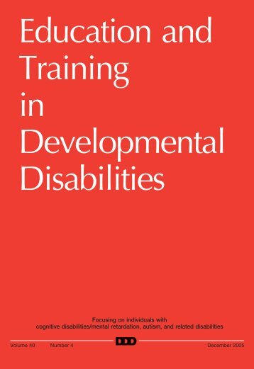 Education and Training in Developmental Disabilities - Division on ...