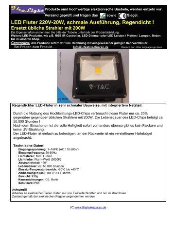 LED Fluter 220V-20W, schmale Ausführung, Regendicht ! Ersetzt ...