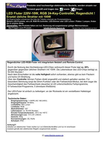 LED Fluter 220V-10W, RGB 24-Key-Controller, Regendicht ! Ersetzt ...