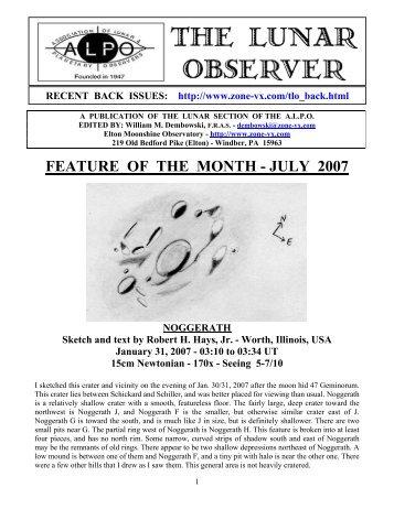 FEATURE OF THE MONTH - JULY 2007 - ALPO Lunar Program