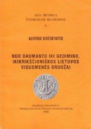 Acta Historica Universitatis Klaipedensis, t. V - Baltijos regiono ...