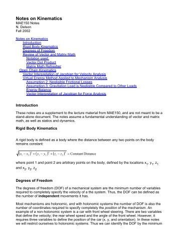 Notes on Kinematics - MAELabs UCSD