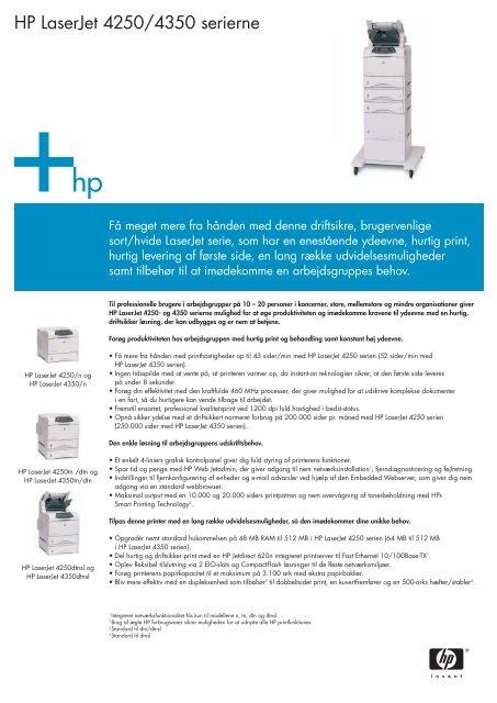 HP LaserJet 4250/4350 serierne - FLC Danmark ApS