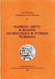 (Acta Historica Universitatis Klaipedensis, t. II).