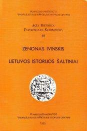IVINSKIS, Zenonas. Lietuvos istorijos šaltiniai