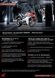"""""""Sie ist zurück – die legendäre CBR600F. ... Welcome back."""" - Honda"""