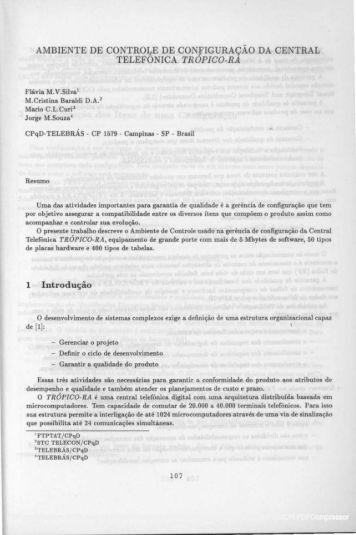 AMBIENTE DE CONTRO~E DE CONfiGURAÇÃO DA CENTRAL ...
