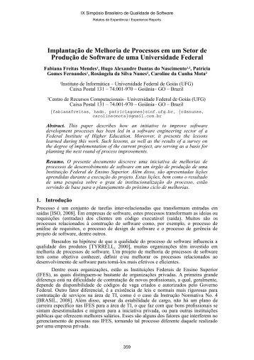 Anais do IX Simpósio Brasileiro de Qualidade de ... - Cercomp - UFG