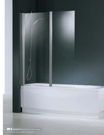 ref. 2 Aurora 2 Two section bath screen, two hinged - Novellini