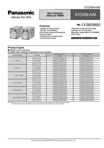 S1DXM Catalog - Panasonic Electric Works Corporation of America