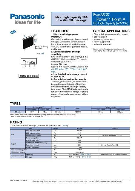 PhotoMOS Power 1 Form A DC High Capacity - Panasonic