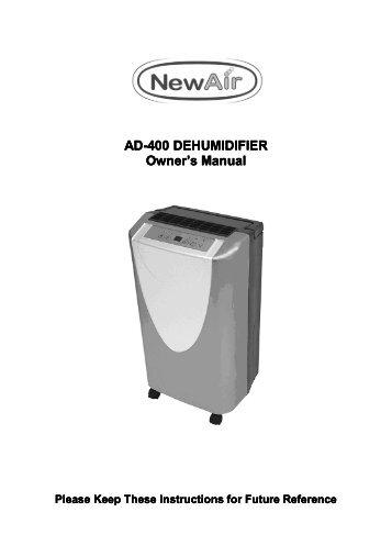 AD-400 DEHUMIDIFIER - NewAir
