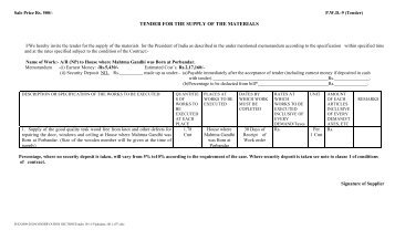 TENDER FOR THE SUPPLY OF THE MATERIALS