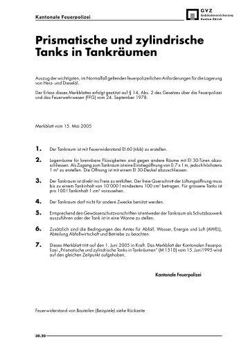 """Merkblatt """"Prismatische und zylindrische Tanks in Tankräumen"""" - GVZ"""
