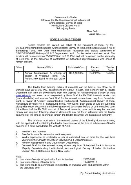 GOVERNMENT OF INDIA - Archaeological Survey of India
