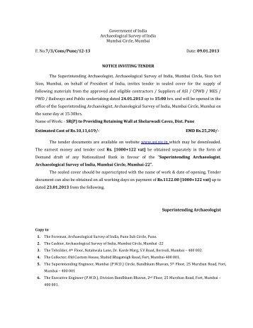 SR(P) to Providing Retaining Wall at Shelarwadi Caves, Dist. Pune