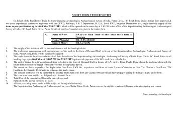SHORT TERM TENDER NOTICE - Archaeological Survey of India