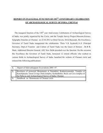inaugural function of celebrating 150 - Archaeological Survey of India