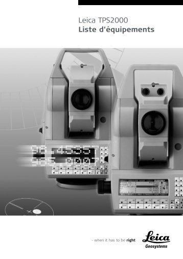 Leica TPS2000 Liste d'équipements