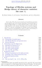 Topology of Hitchin systems and Hodge theory of character ... - GEOM