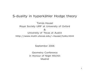 S-duality in hyperkähler Hodge theory - GEOM