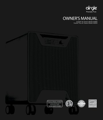 OWNER'S MANUAL - Airgle PurePal Air Purifiers